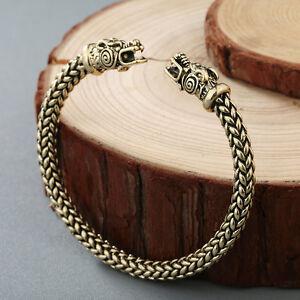 Men-Nordic-Viking-Dragon-Bangle-Cuff-Bracelet-Scandinavian-Historical-Accessorie