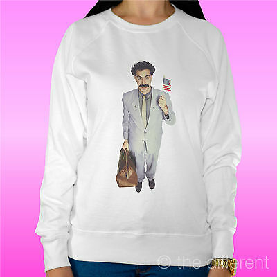 "Consegna Veloce Felpa Donna Leggera Sweater Bianco "" Borat Film "" Road To Happiness Acquista One Give One"
