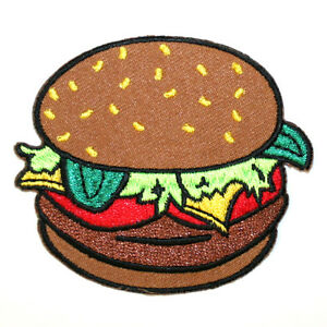 Hamburger-Burger-Iron-On-Patch-Junk-Food-Embroidered-Sew-On