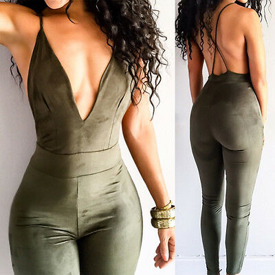 Sexy Women V Neck Sleeveless Bodycon Bandage Bodysuit Jumpsuit Rompers Trousers