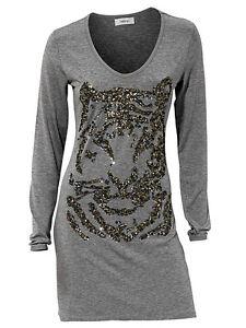 Longshirt-mit-Paillettenapplikation-Tiger-grau-Heine-Shirt-Longsleeve-Gr-40