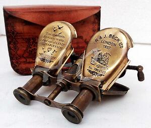 Vintage-Brass-Binocular-Telescope-Maritime-Nautical-Columbus-Ships-Spyglass-CASE