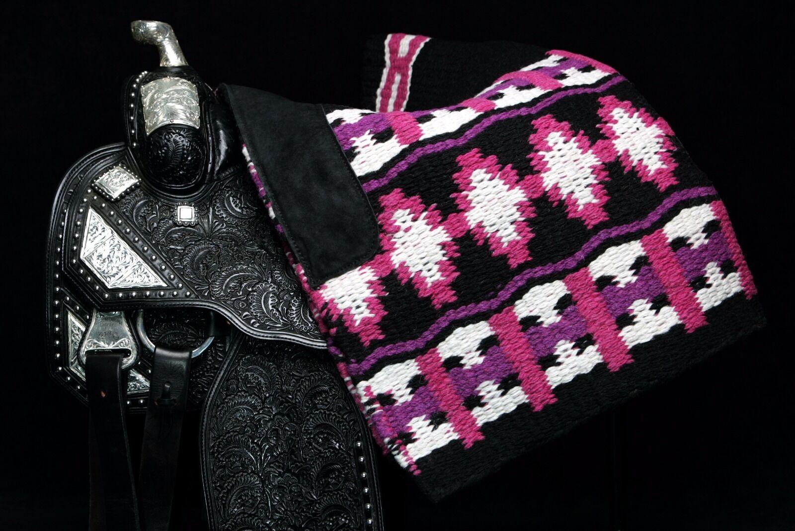 Western  Horse Show Blanket Oversize 100% NZ Wool Pink Purple 38  x 34 .  for sale