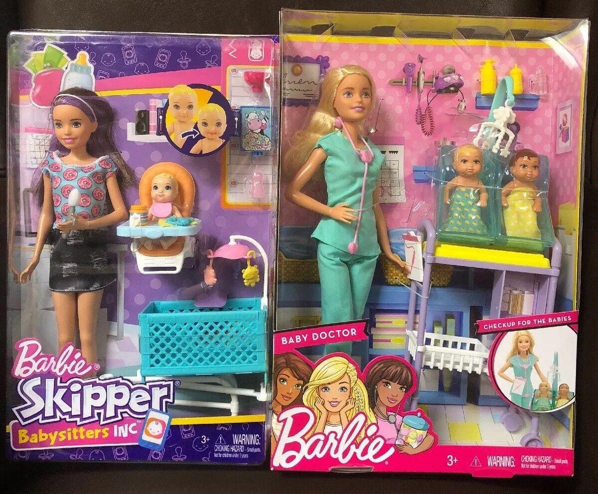 Barbie Skipper niñera médico Twin Bebés Bebé Lactancia recién nacido Muñecas Lote Raro