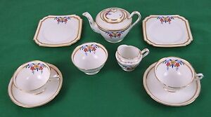 2 Place Tea Setting Balmoral China R&D England 9 Peaces White Gold Florel