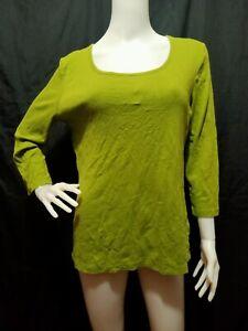 JONES NEW YORK SPORT Green Cotton ¾ Sleeves Tee Size: L