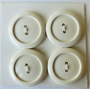 24 Small White Casein 2-hole carved buttons New Design Vintage Buttons