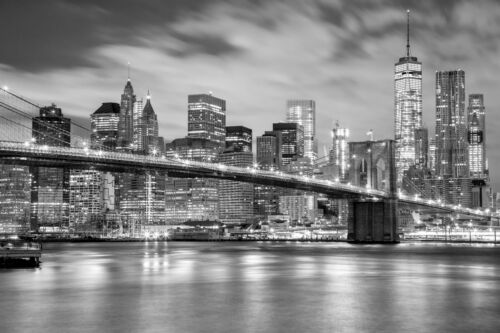 -Brooklyn Bridge Manhattan Stadt Retro Skyline 842V VLIES Fototapete-NEW YORK-