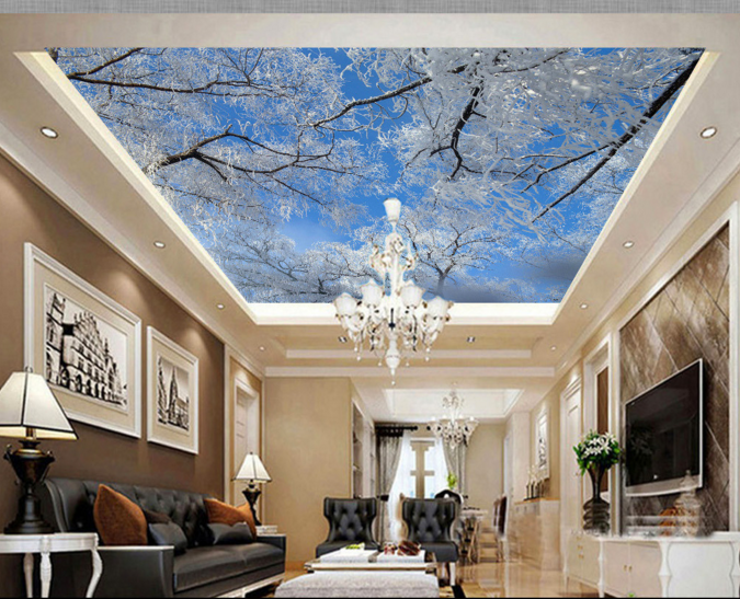 3D Snow Forest 978 Ceiling WallPaper Murals Wall Print Decal Deco AJ WALLPAPER
