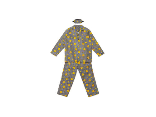 Kakao Friends Check Pattern Pajamas For Men Free Size Ryan Sleepwear Cotton 100/%