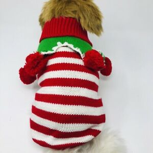 Dog-Puppy-Knitted-Sweater-Winter-Holiday-Christmas-Red-White-Green-S-M-L