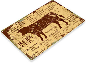 TIN-SIGN-Beef-Cuts-Metal-Decor-Wall-Shop-Farm-Cow-Kitchen-Store-A979
