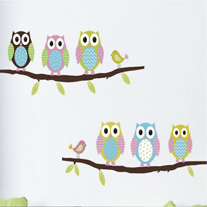 wall-stickers-Home-Cute-Colorful-Owls-Flower-Tree-nursery-children-baby-Kid-G6