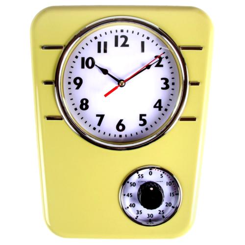 Retro Kitchen Clock With Timer (Mustard)