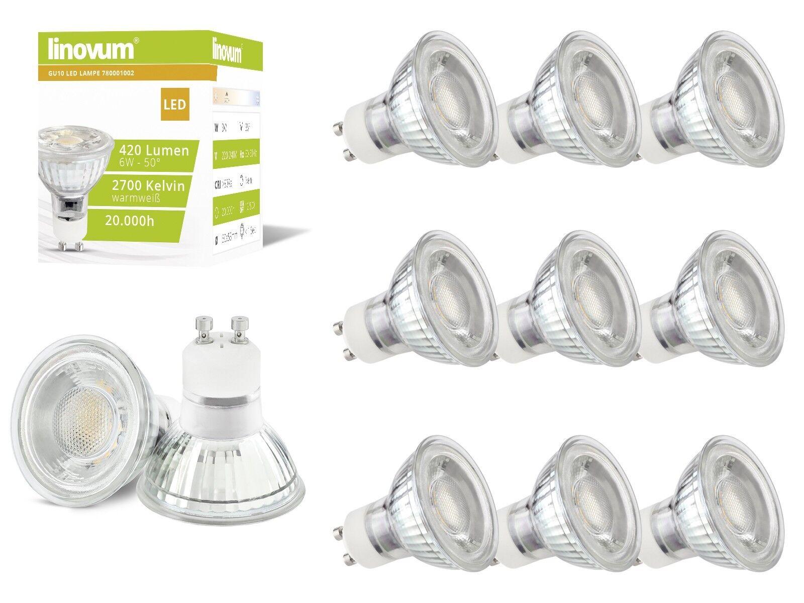 10x linovum® 6W GU10 LED Lampen Set ersetzt 50W, warmweiß 2700K LED-Leuchtmittel