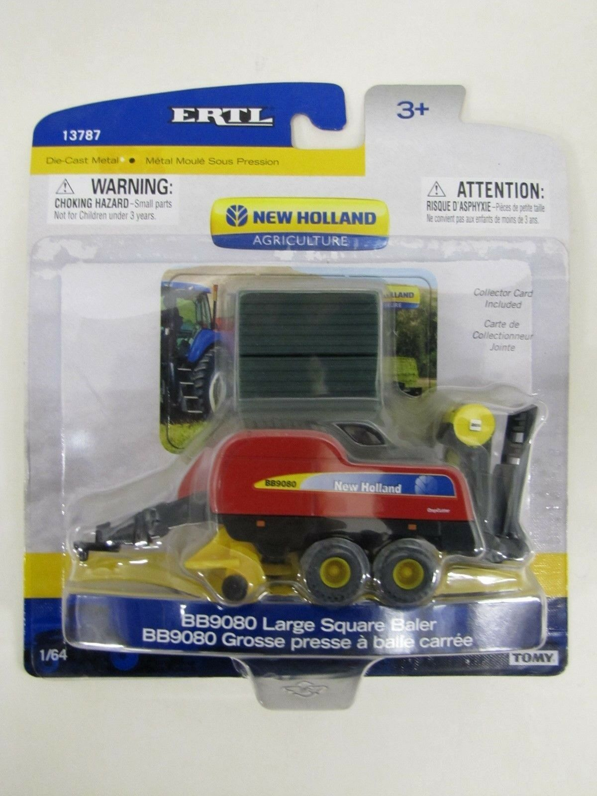New Holland BB9080 Large Square Baler & 2 Square Bales1 64 Scale Toy