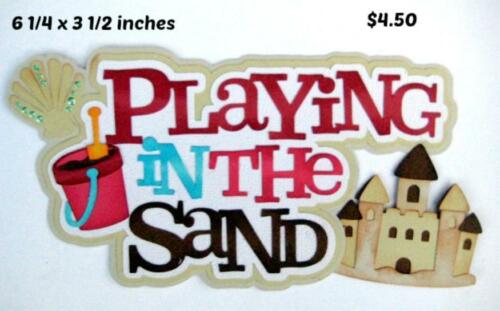 PLAYING IN SAND TITLE summer boy girl scrapbook premade paper piecing by Rhonda