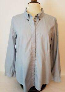 J Jill Women's L Large Button Down Blouse Long Sleeve Shirt Blue Top