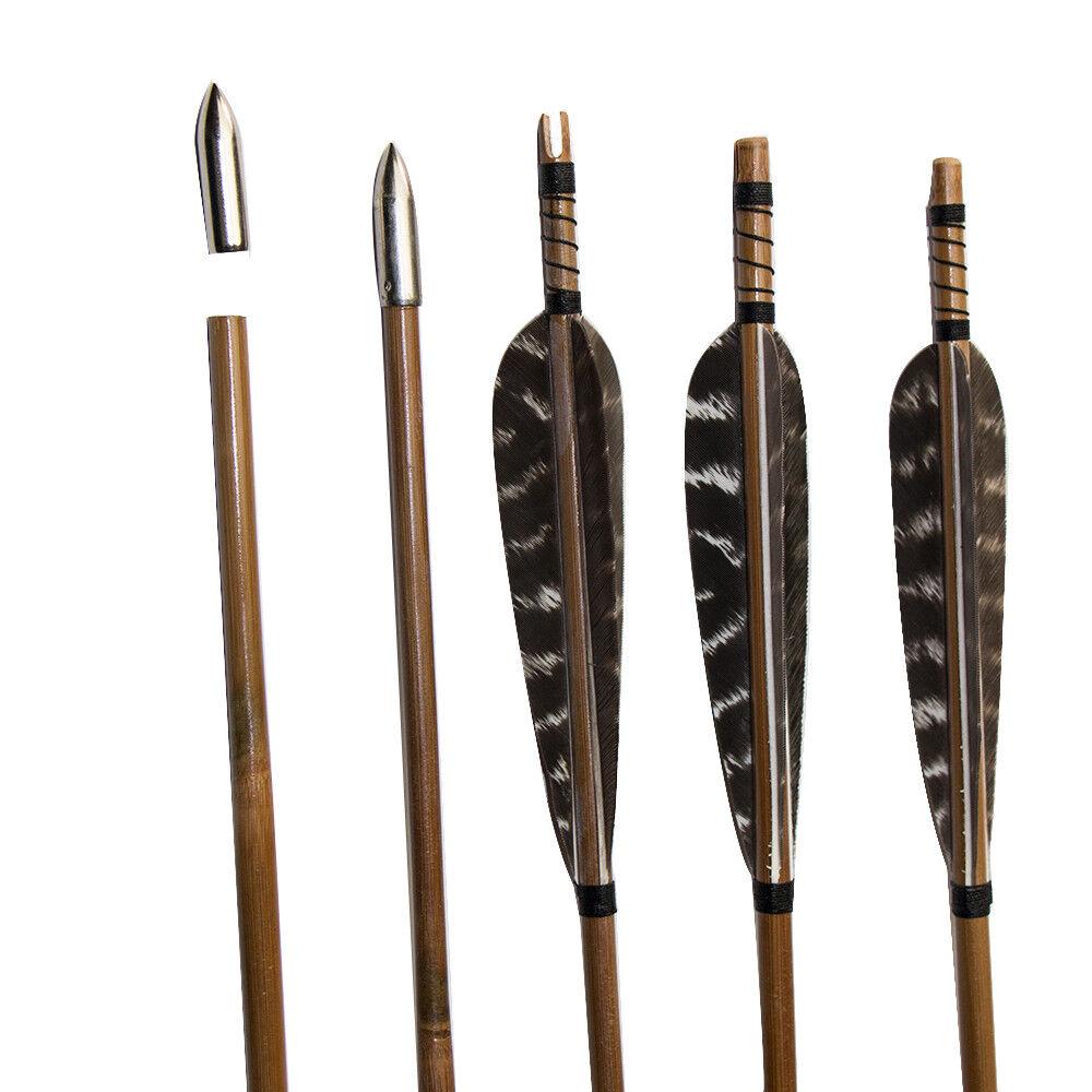 33  flechas  de tiro con arco caza tradicional de bambú hecha a mano para Recurvo Arco Paquete de 10  suministramos lo mejor