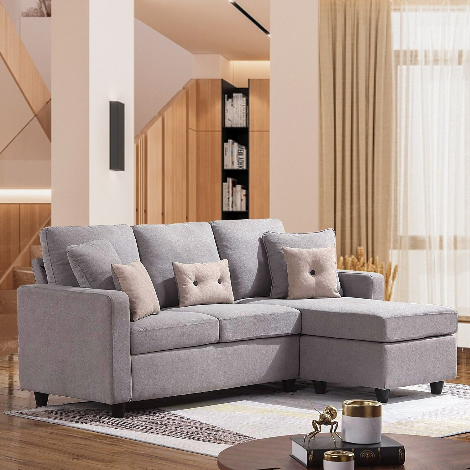 Swell Linen Fabric Sectional Sofa L Shaped Couch W Reversible Chaise For Small Space Ibusinesslaw Wood Chair Design Ideas Ibusinesslaworg
