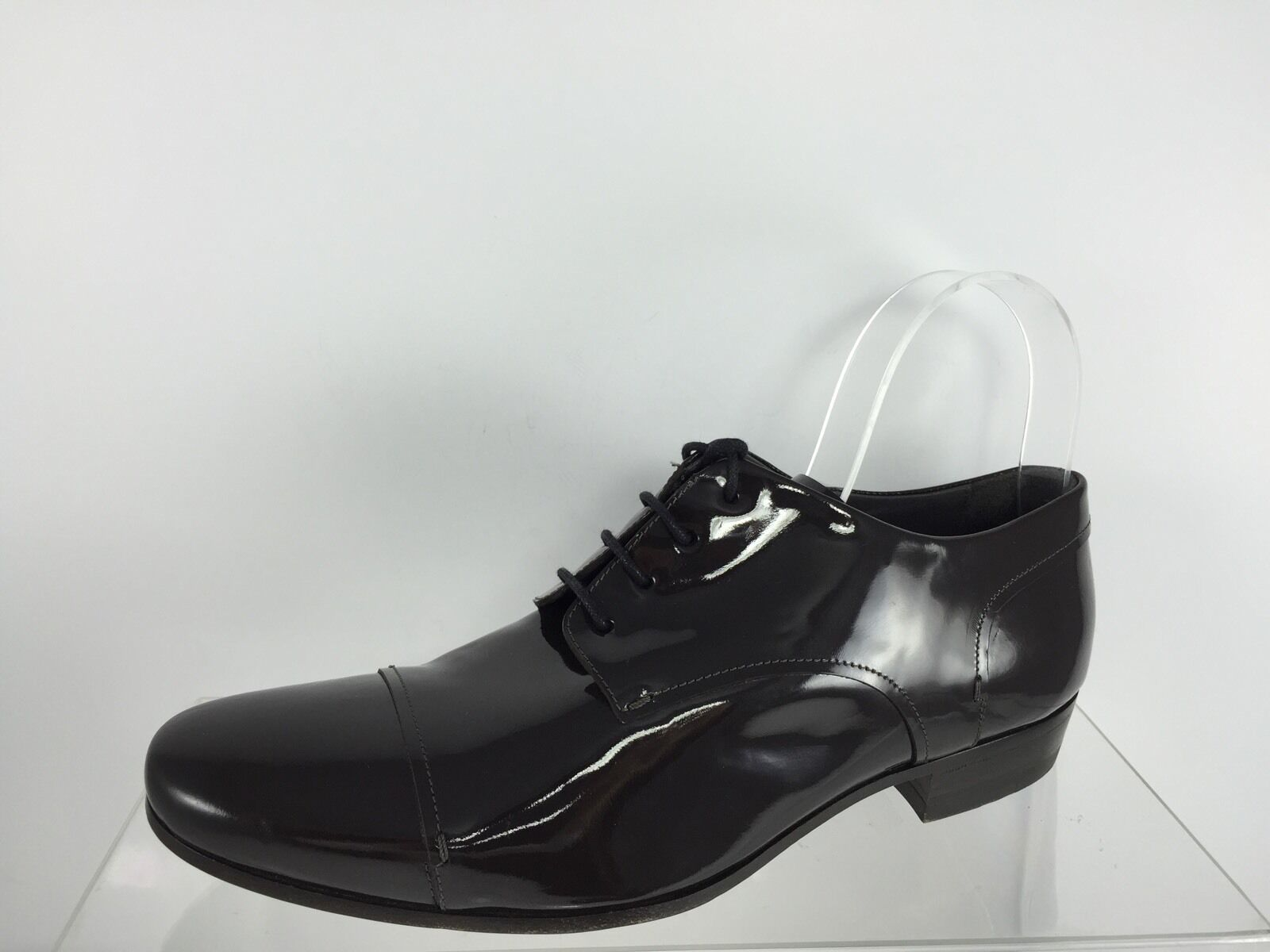 Lanvin Uomo Dark Brown Patent Pelle Lace Lace Lace Up Shoes 9 a82844