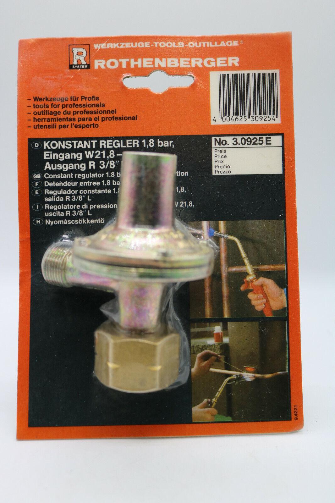 Gasregler 4 bar ROTHENBERGER Industrial Propan Konstantregler 8kg//h