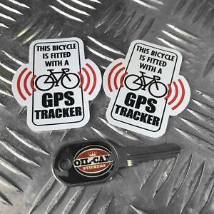 BICYCLE-GPS-TRACKER-anti-theft-SECURITY-stickers-decals-x2-mountain-bike-mtb