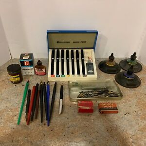 Lot-Vintage-Colligraphy-Tools-Ink-Pens-Wells-Tips-Art-Writing-Instraments