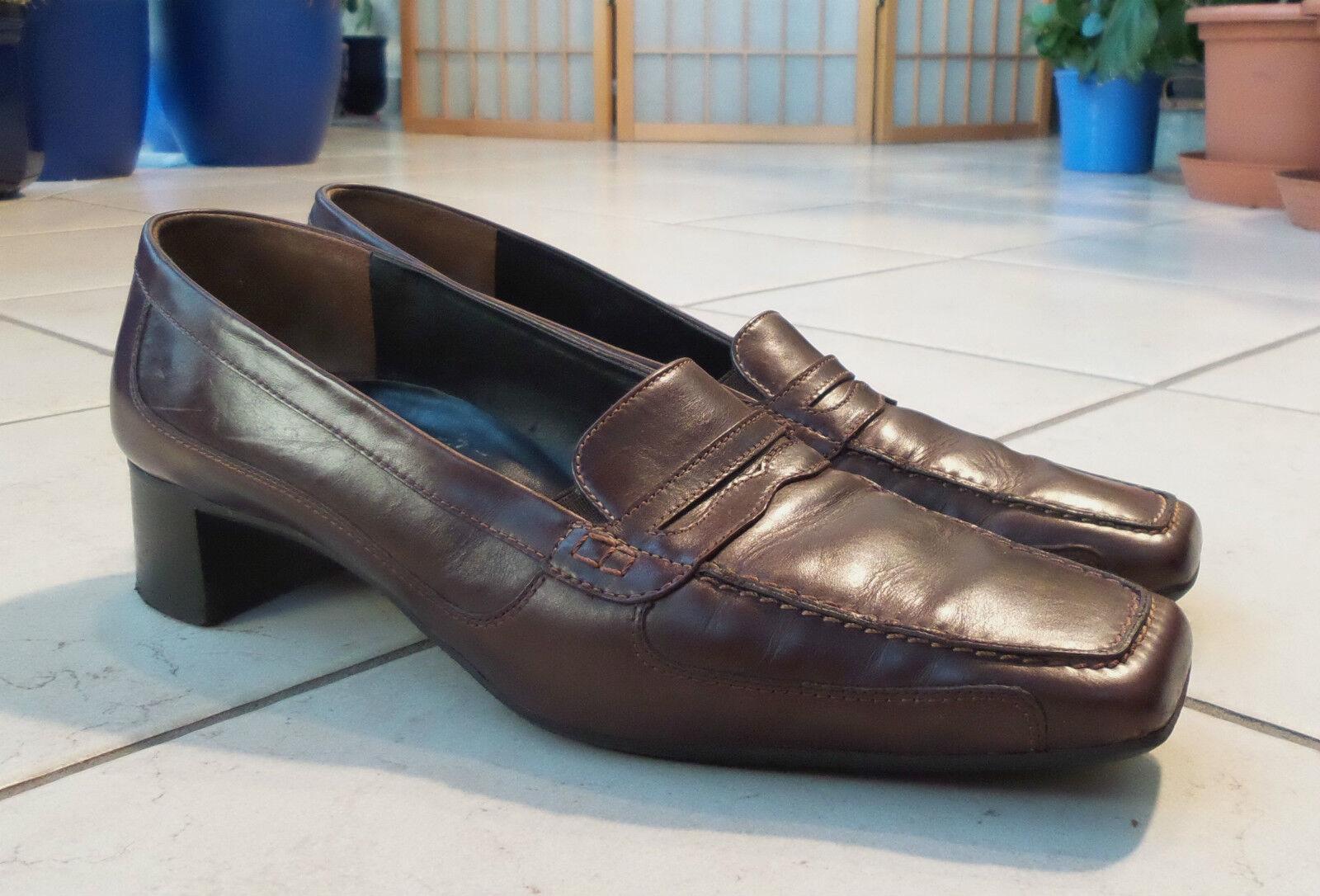 PAUL GREEN Halbschuhe Mokassins Loafers Slipper Gr. DE 42 brown Echtleder