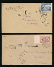 GOLD COAST POSTAGE DUE in GB 3d + 4d LIABLE to LETTER RATE 1955 SCOTLAND