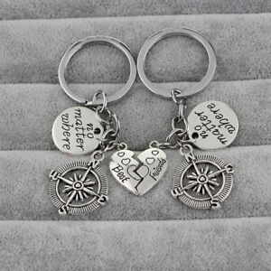 "1Pair Keychain ""No Matter Where"" Friendship Couples Best Friend Compass Charm"