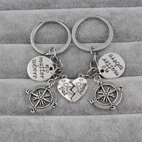 "Keychain /""No Matter Where/"" Friendship Couples Best Friend Compass Charm Gift WE"