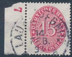 D.Reich Dienst Nr. 124 gestempelt, Seitenrand mit Klischeenummer 7 (20843)