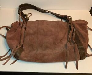 c1a199977e Lucky Brand Large Fringe Hobo Bag Brown Suede w  Leather Purse