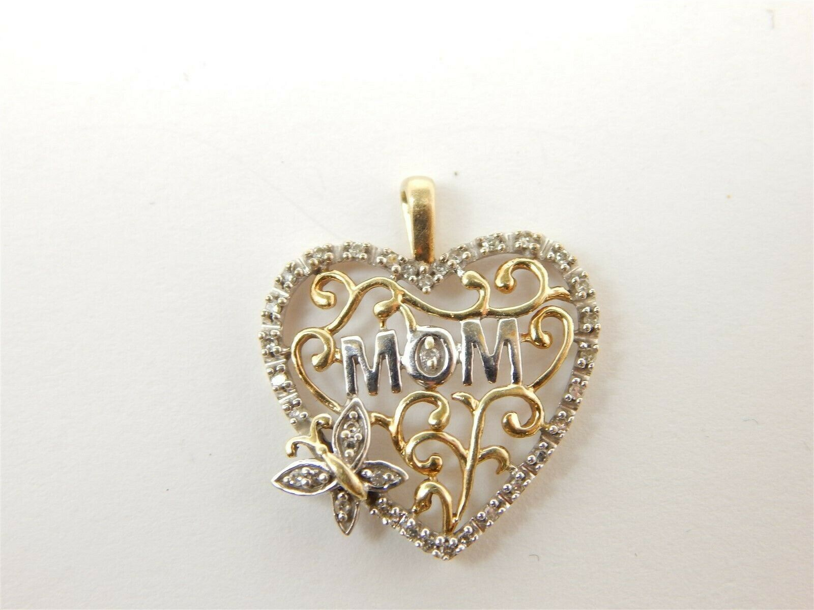 Pretty 10K White & Yellow Two-Tone gold Mom Heart Pendant  W  Diamond Accents