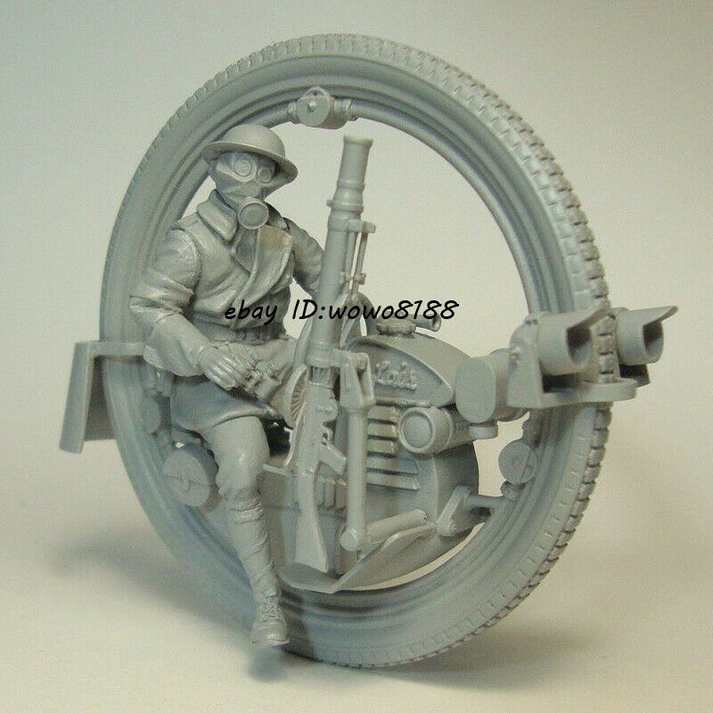 1 35 Motorbike & Soldier With 7 Heads Figure Model Garage Kit Unpainted Resin