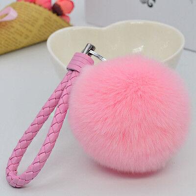 "Black 3.15/"" Soft Rabbit Fur Ball Fluffy KeyChain Ring Handbag Car accessories"