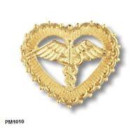 Open Heart Caduceus Pin Beaded Edge Nursing Nurse Yellow Gold Plated 1010