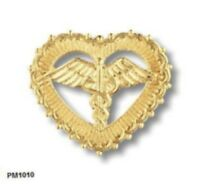 Open Heart Caduceus Pin Beaded Edge Nursing Nurse Yellow Gold Plated 1010