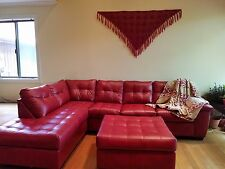 Right Arm Facing Sectional Red Sofa with Ottoman, 3 months old