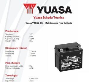 BATTERIA-DE-MOTO-YUASA-YTX5L-BS-12V-4AH-Kymco-Quad-Maxxer-50-cc-anos-05-gt-06