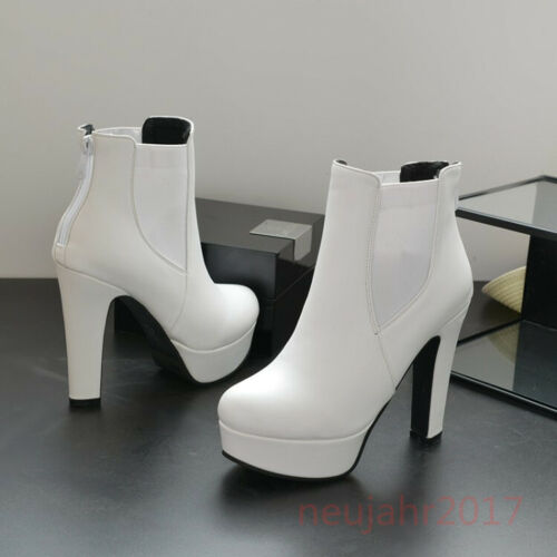 Damenschuhe Block High Heel Plattform runde Kappe elastische Stiefeletten Pumps