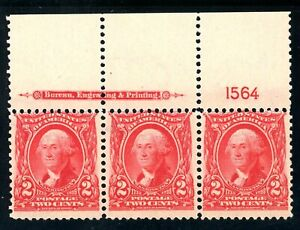 USAstamps-Unused-VF-US-Series-of-1902-Washington-Plate-Strip-Scott-301-OG-MNH