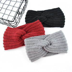 Women Wide Brim Knit Headband Winter Korean Cross Knotted Elastic Girl Hairband