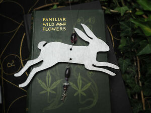 Silver-Leaping-Hare-Yule-Tree-Decoration-Pagan-Wicca-Christmas-Ornament