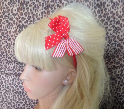 Red white polka dot Candy Stripe ruban Cheveux Nœud Côté Alice Tête Bande nautique
