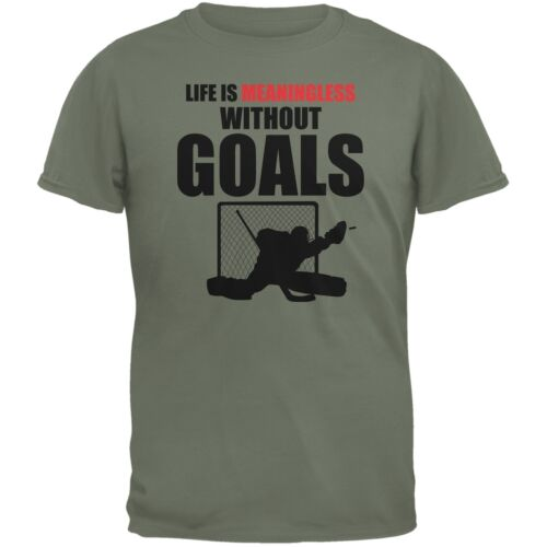 Hockey Life Is Meaningless Without Goals Military Green Adult T-Shirt