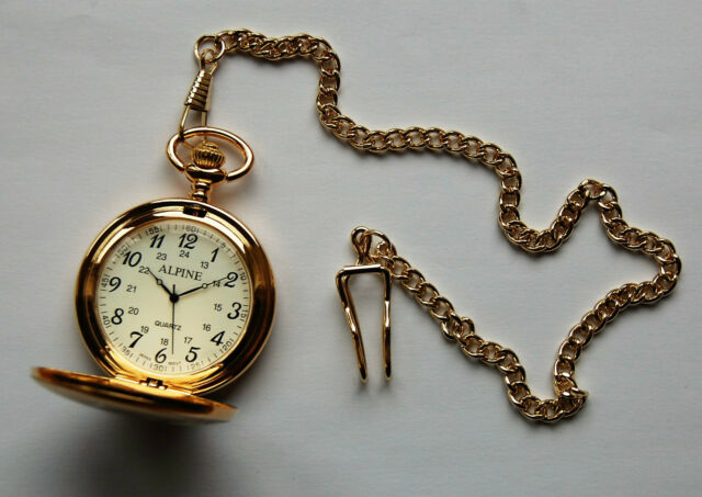 """Men's Pocket Watch  with Gold tone 14"""" chain and clip. + FREE Battery"""
