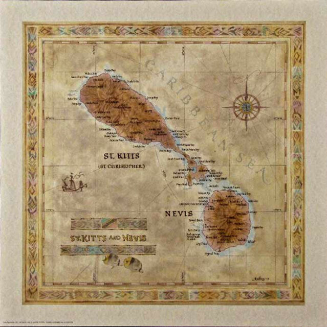 Antique style  ST. KITTS NEVIS Map
