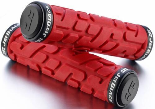 JetBlack Rivet MTB Locking Handlebar Grips Bike Lock-On Grip Jet RED